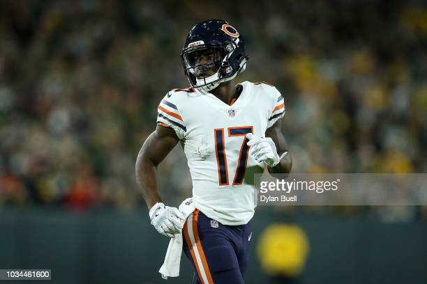 Anthony Miller of the Chicago Bears lines up for a play in the third quarter against the Green Bay Packers at Lambeau Field on September 9 2018 in...