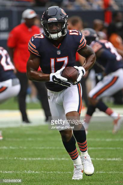 Anthony Miller of the Chicago Bears particiaptes in warmups before a preseason game against the Kansas City Chiefs at Soldier Field on August 25 2018...