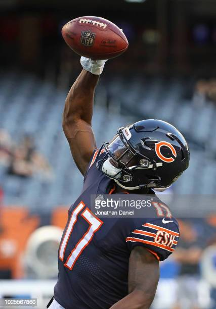 Anthony Miller of the Chicago Bears participates in warmups before a preseason game against the Buffalo Bills at Soldier Field on August 30 2018 in...