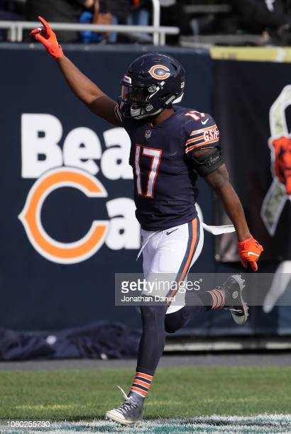 Anthony Miller of the Chicago Bears reacts after scoring a touchdown against the Detroit Lions in the second quarter at Soldier Field on November 11...