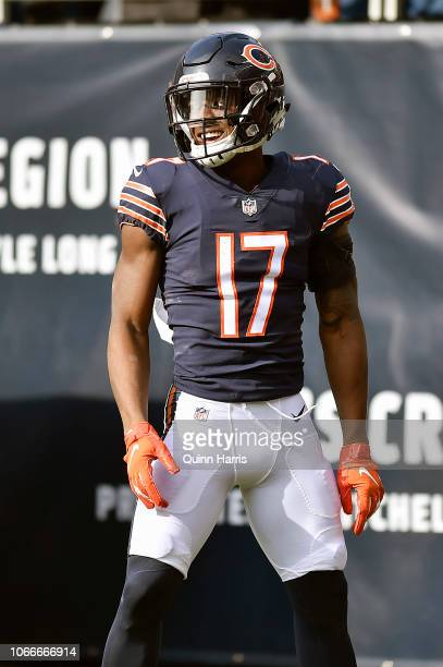 Anthony Miller of the Chicago Bears reacts after scoring against the Detroit Lions at Soldier Field on November 11 2018 in Chicago Illinois