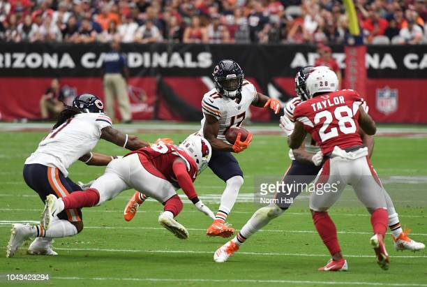 Anthony Miller of the Chicago Bears runs with the ball during a game against the Arizona Cardinals at State Farm Stadium on September 23 2018 in...