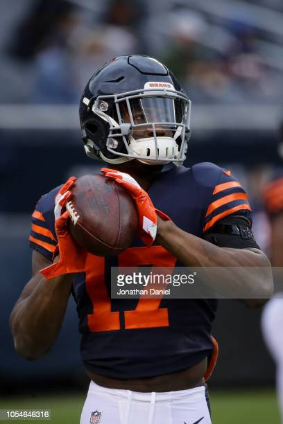 Anthony Miller of the Chicago Bears warms up prior to the game against the New York Jets at Soldier Field on October 28 2018 in Chicago Illinois