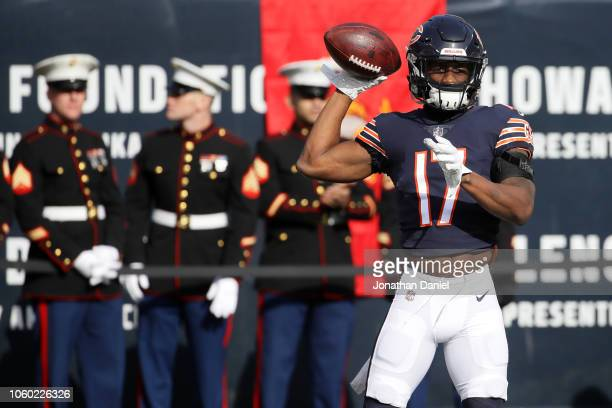 Anthony Miller of the Chicago Bears warms up prior to the game against the Detroit Lions at Soldier Field on November 11 2018 in Chicago Illinois