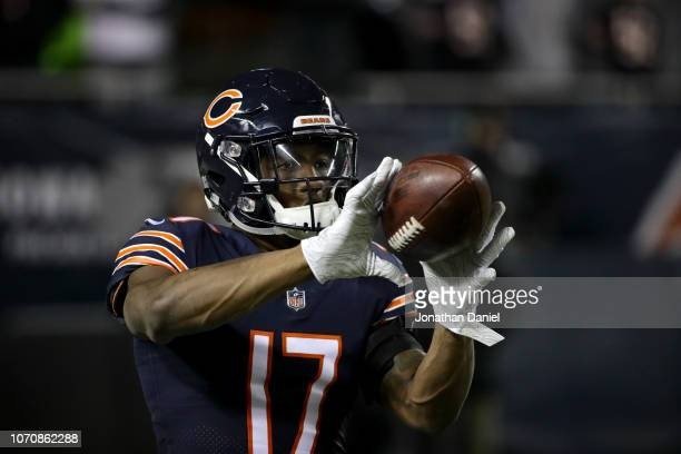 Anthony Miller of the Chicago Bears warms up prior to the game against the Los Angeles Rams at Soldier Field on December 9 2018 in Chicago Illinois