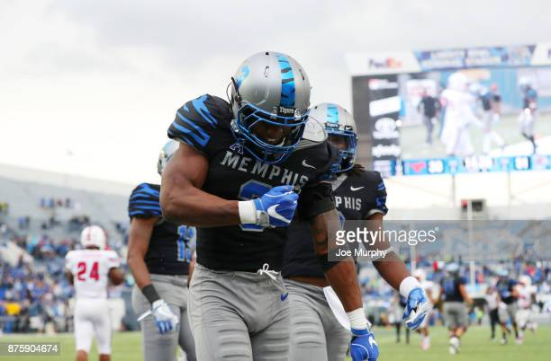 Anthony Miller of the Memphis Tigers celebrates a touchdown against the SMU Mustangs on November 18 2017 at Liberty Bowl Memorial Stadium in Memphis...