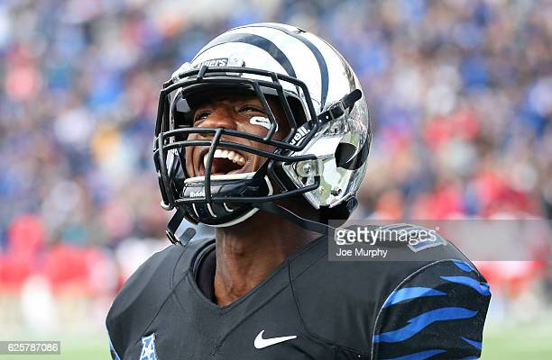 Anthony Miller of the Memphis Tigers celebrates against the Houston Cougars on November 25 2016 at Liberty Bowl Memorial Stadium in Memphis Tennessee...