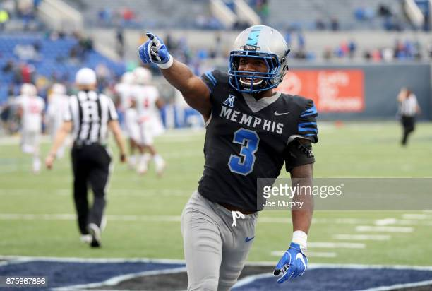 Anthony Miller of the Memphis Tigers celebrates against the SMU Mustangs on November 18 2017 at Liberty Bowl Memorial Stadium in Memphis Tennessee...
