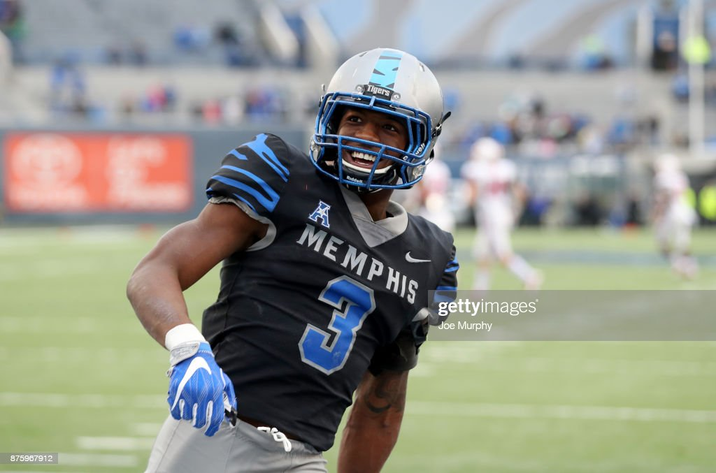 Anthony Miller #3 of the Memphis Tigers celebrates against the SMU Mustangs on November 18, 2017 at Liberty Bowl Memorial Stadium in Memphis, Tennessee. Memphis defeated SMU