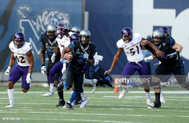 Anthony Miller of the Memphis Tigers runs for a touchdown after the catch against the East Carolina Pirates on November 25 2017 at Liberty Bowl...
