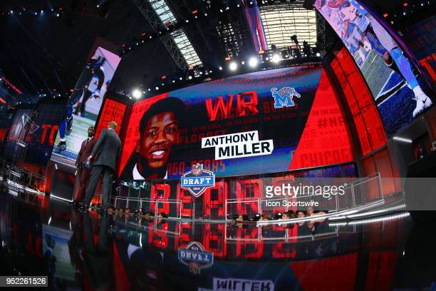 Anthony Miller on the video screen after being chosen by the Chicago Bears with the 51st pick during the second round of the 2018 NFL Draft on April...