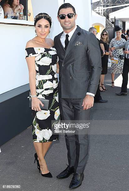 Anthony Minichiello and wife Terry Biviano attend on Derby Day at Flemington Racecourse on October 29 2016 in Melbourne Australia