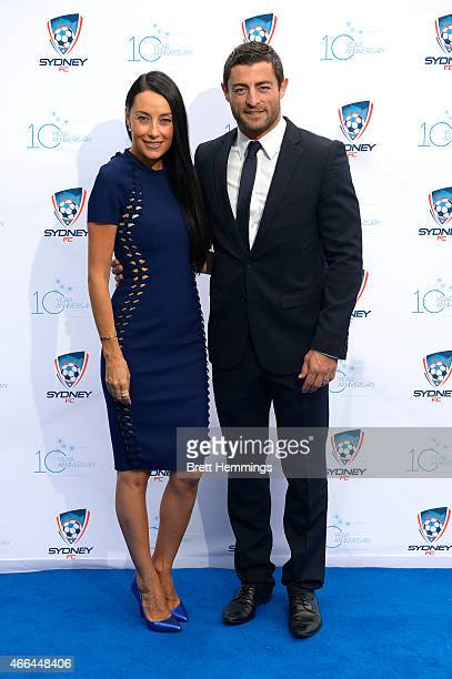 Anthony Minichiello and wife Terry Biviano pose for a photo during the Sydney FC 10 Year Anniversary Lunch at Allianz Stadium on March 16 2015 in...
