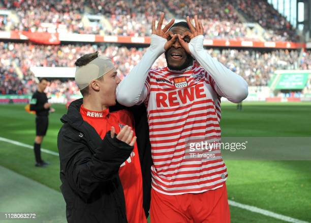 Anthony Modeste celebrates after scoring his team's second goal with team mates mit Vincent Koziello of 1. FC Koeln during the Second Bundesliga...