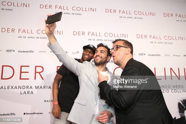 Anthony Modeste Elyas M'Barek and Torsten Koch attend the Der Fall Collini premiere at Cinedome on April 18 2019 in Cologne Germany