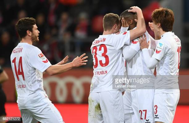 Anthony Modeste of 1 FC Koeln and his teammates celebrate their side's first goal during the Bundesliga match between FC Ingolstadt 04 and 1 FC Koeln...