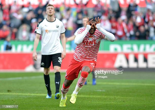 Anthony Modeste of 1. FC Koeln celebrates after scoring his team's second goal during the Second Bundesliga match between 1. FC Koeln and SV...