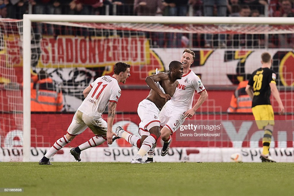 Anthony Modeste of 1. FC Koeln celebrates as he scores the second goal during the Bundesliga match between 1. FC Koeln and Borussia Dortmund at RheinEnergieStadion on December 19, 2015 in Cologne, Germany.