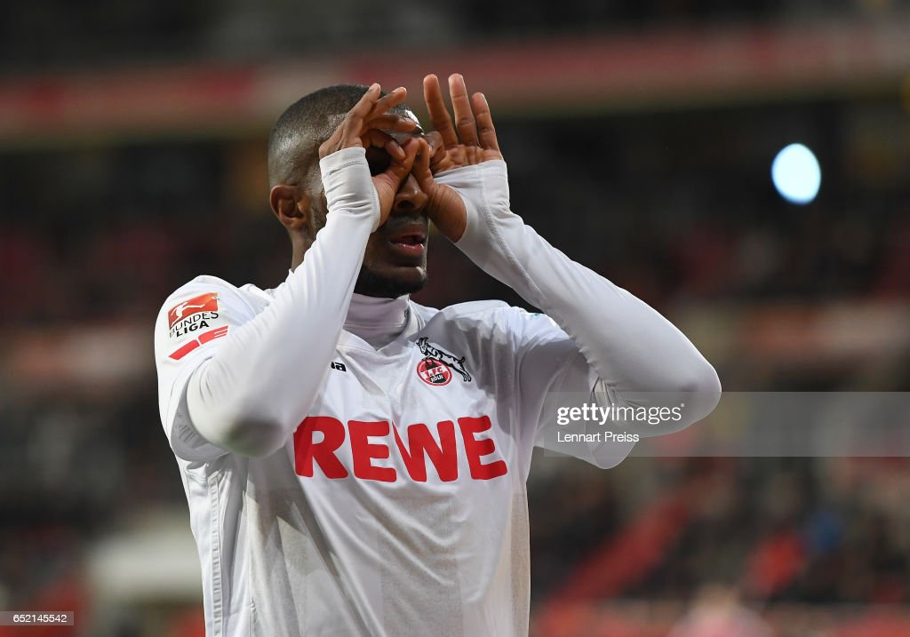 Anthony Modeste of 1. FC Koeln celebrates his side's second goal during the Bundesliga match between FC Ingolstadt 04 and 1. FC Koeln at Audi Sportpark on March 11, 2017 in Ingolstadt, Germany.