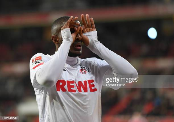 Anthony Modeste of 1 FC Koeln celebrates his side's second goal during the Bundesliga match between FC Ingolstadt 04 and 1 FC Koeln at Audi Sportpark...