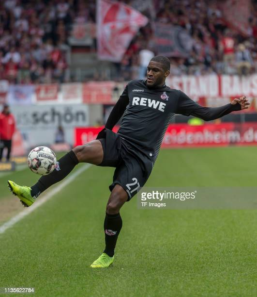 Anthony Modeste of 1. FC Koeln controls the ball during the Second Bundesliga match between 1. FC Heidenheim 1846 and 1. FC Koeln at Voith-Arena on...