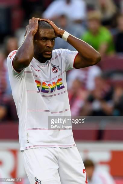 Anthony Modeste of 1. FC Koeln looks dejected during the Bundesliga match between 1. FC Koeln and RB Leipzig at RheinEnergieStadion on September 18,...