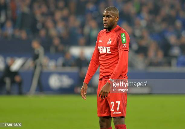 Anthony Modeste of 1. FC Koeln looks on during the Bundesliga match between FC Schalke 04 and 1. FC Koeln at Veltins-Arena on October 5, 2019 in...