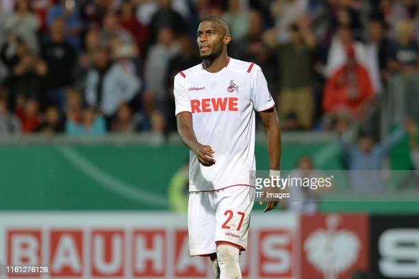 Anthony Modeste of 1. FC Koeln looks on during the DFB Cup first round match between SV Wehen Wiesbaden and 1. FC Koeln at BRITA-Arena on August 11,...