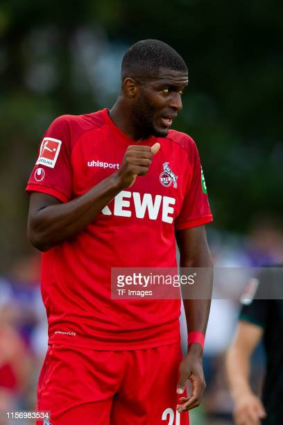 Anthony Modeste of 1. FC Koeln looks on during the Interwetten Cup match between SV Werder Bremen and 1. FC Koeln at Heinz-Dettmer-Stadion on July...
