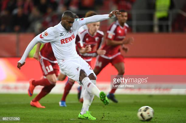 Anthony Modeste of 1 FC Koeln scores his side's first goal with a penalty during the Bundesliga match between FC Ingolstadt 04 and 1 FC Koeln at Audi...