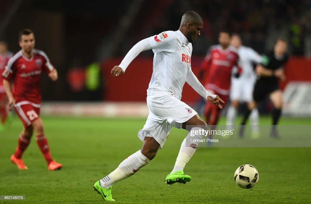 Anthony Modeste of 1. FC Koeln scores his side's second goal during the Bundesliga match between FC Ingolstadt 04 and 1. FC Koeln at Audi Sportpark on March 11, 2017 in Ingolstadt, Germany.