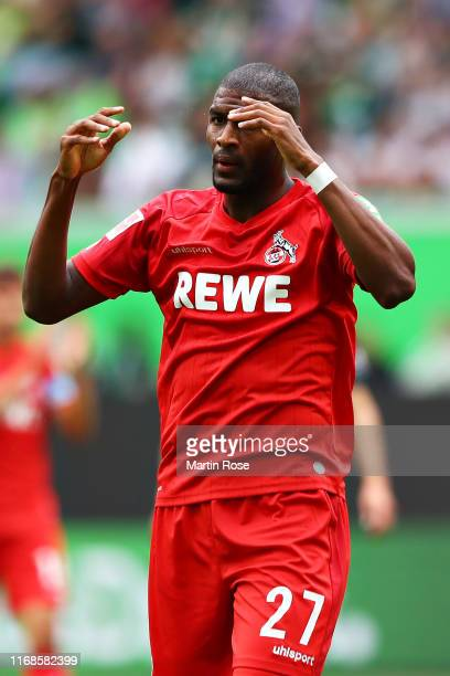 Anthony Modeste of 1. FC Koln reacts during the Bundesliga match between VfL Wolfsburg and 1. FC Koeln at Volkswagen Arena on August 17, 2019 in...
