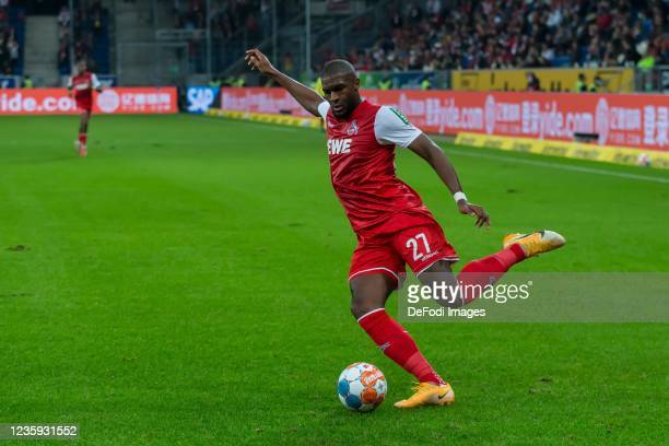 Anthony Modeste of 1.FC Koeln controls the Ball during the Bundesliga match between TSG Hoffenheim and 1. FC Köln at PreZero-Arena on October 15,...
