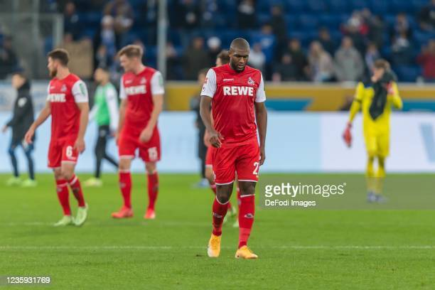 Anthony Modeste of 1.FC Koeln looks dejected after the Bundesliga match between TSG Hoffenheim and 1. FC Köln at PreZero-Arena on October 15, 2021 in...