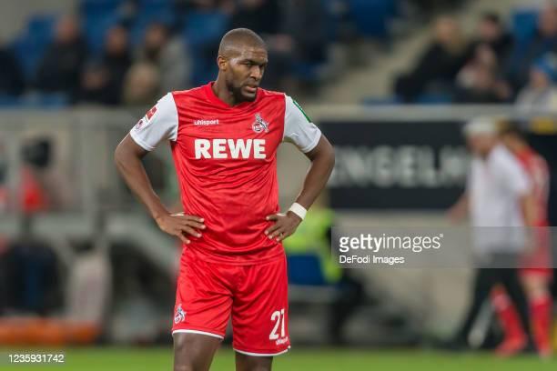 Anthony Modeste of 1.FC Koeln looks dejected during the Bundesliga match between TSG Hoffenheim and 1. FC Köln at PreZero-Arena on October 15, 2021...