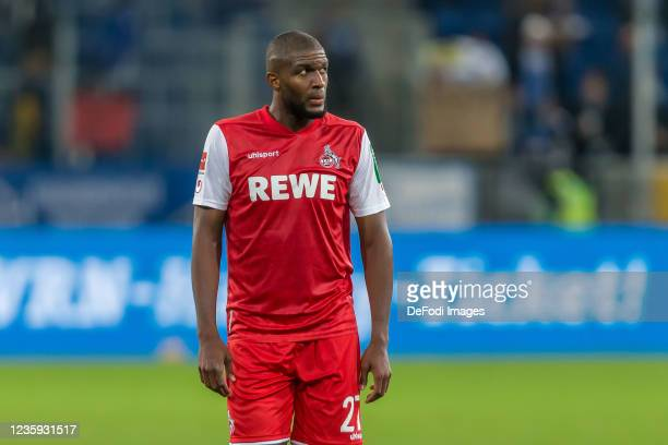 Anthony Modeste of 1.FC Koeln Looks on after the Bundesliga match between TSG Hoffenheim and 1. FC Köln at PreZero-Arena on October 15, 2021 in...