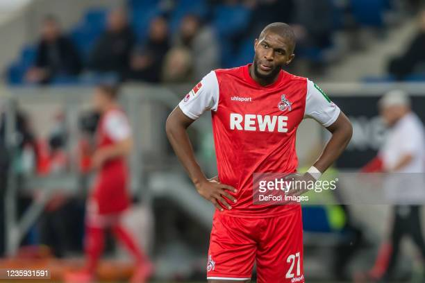 Anthony Modeste of 1.FC Koeln Looks on during the Bundesliga match between TSG Hoffenheim and 1. FC Köln at PreZero-Arena on October 15, 2021 in...
