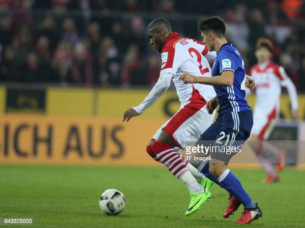 Anthony Modeste of Cologne and Alessandro Schoepf of Schalke Torschuss zum 11 battle for the ball during the Bundesliga match between 1 FC Koeln and...
