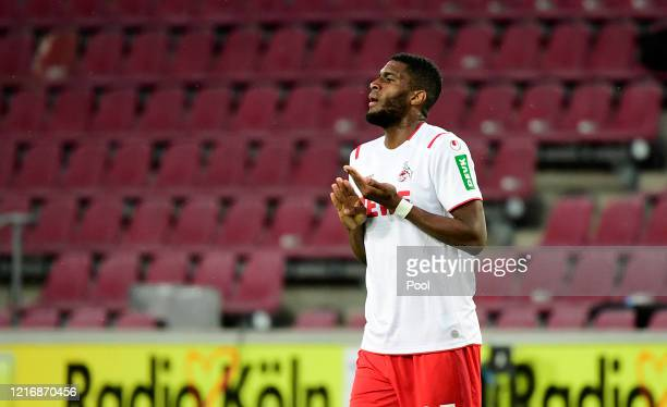 Anthony Modeste of Cologne celebrates a goal during the Bundesliga match between FC Cologne and RB Leipzig on June 1, 2020 in Cologne, Germany.