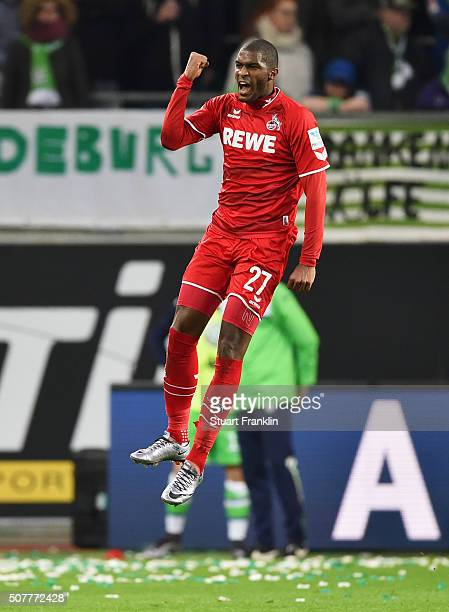 Anthony Modeste of Cologne celebrates as he scores their first and equalising goal during the Bundesliga match between VfL Wolfsburg and 1 FC Koeln...