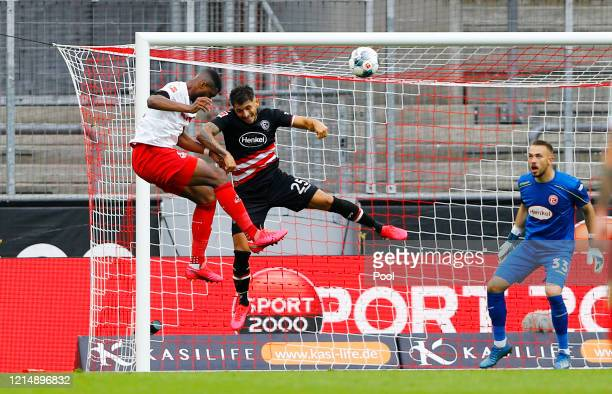 Anthony Modeste of FC Cologne scores his teams first goal during the Bundesliga match between 1. FC Koeln and Fortuna Duesseldorf at...