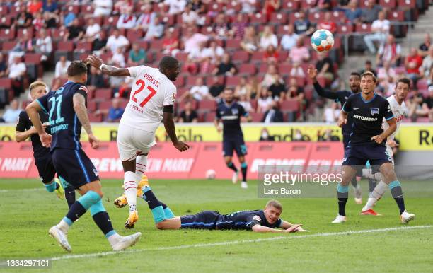 Anthony Modeste of FC Koeln scores their team's first goal during the Bundesliga match between 1. FC Köln and Hertha BSC at RheinEnergieStadion on...