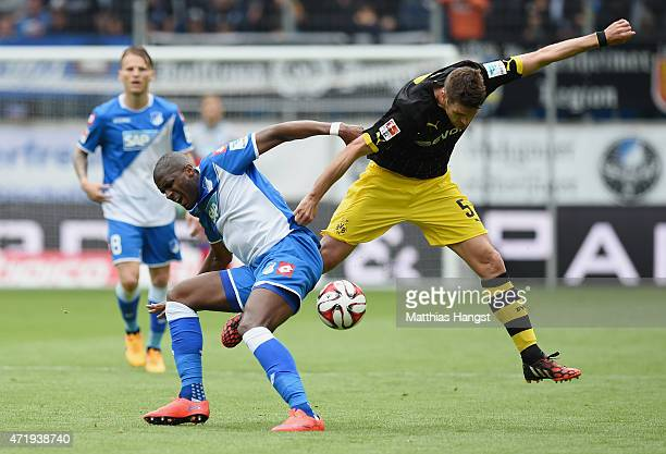 Anthony Modeste of Hoffenheim and Sebastian Kehl of Dortmund compete for the ball during the Bundesliga match between 1899 Hoffenheim and Borussia...