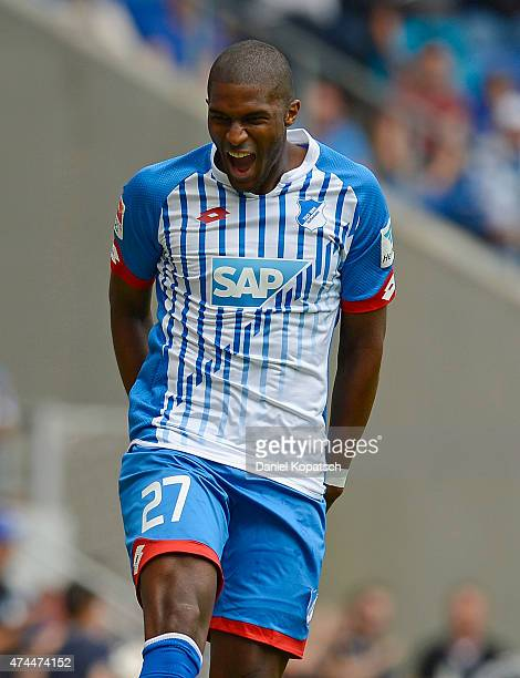 Anthony Modeste of Hoffenheim celebrates his team's first goal during the Bundesliga match between 1899 Hoffenheim and Hertha BSC at Wirsol...