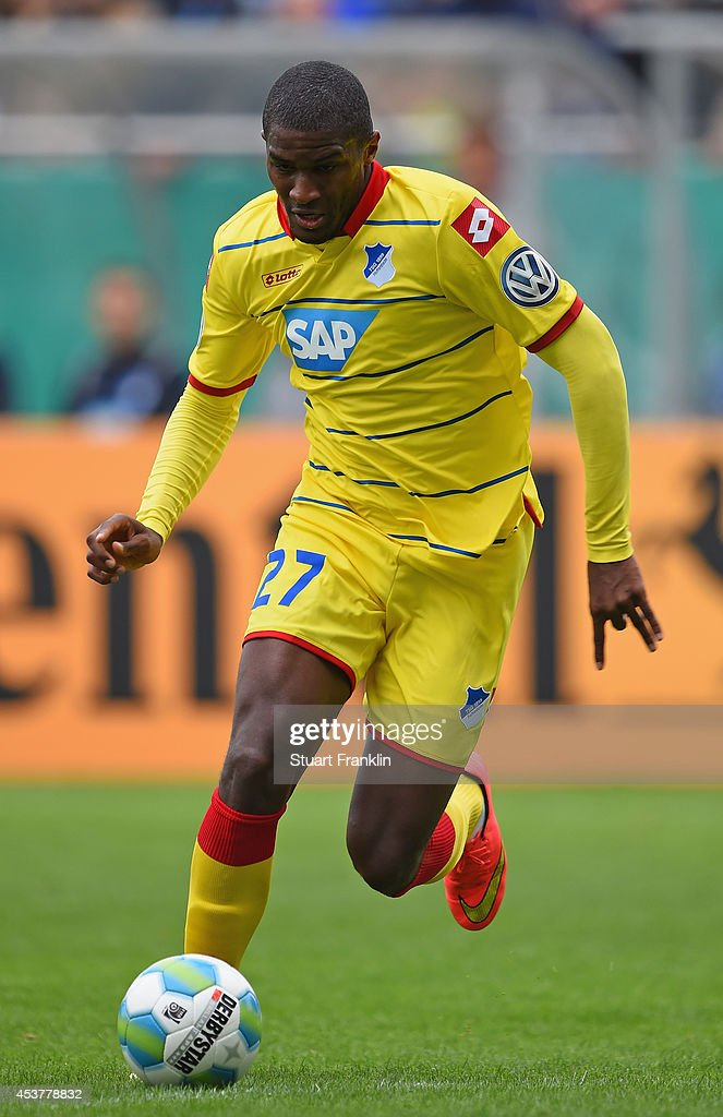 Anthony Modeste of Hoffenheim in action during the DFB Pokal first round match between USC Paloma and 1899 Hoffenheim on August 17, 2014 in Hamburg, Germany.