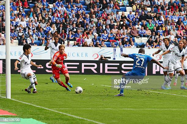 Anthony Modeste of Hoffenheim scores his team's first goal during the Bundesliga match between 1899 Hoffenheim and FC Schalke 04 on September 28 2013...
