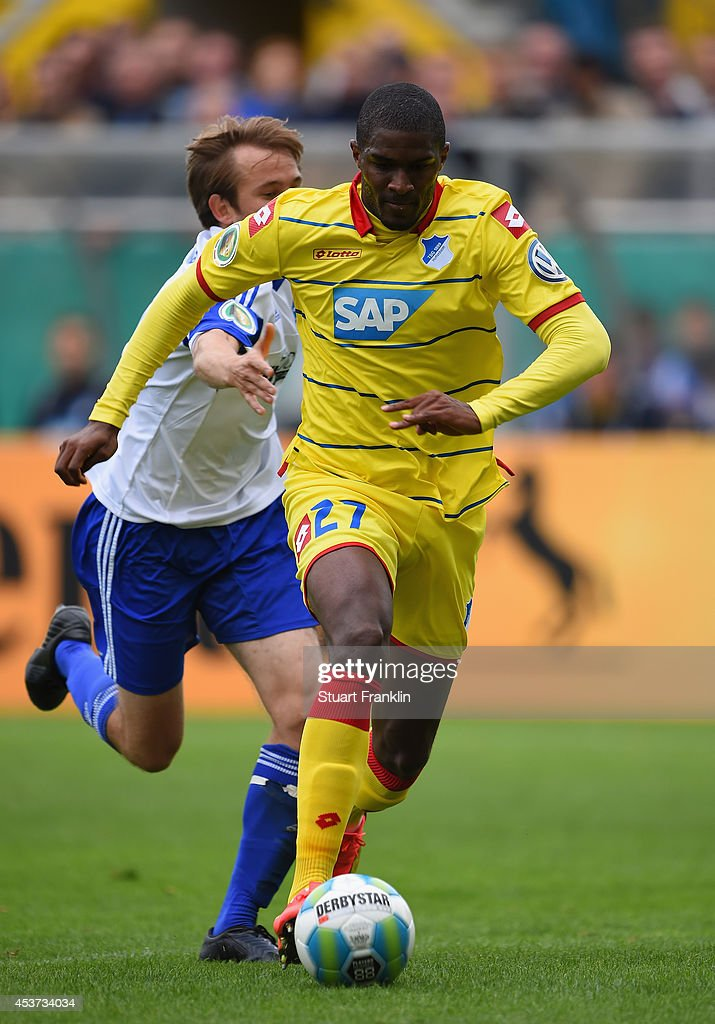 Anthony Modeste of Hoffenheim scores the ninth goal during the DFB Pokal first round match between USC Paloma and 1899 Hoffenheim on August 17, 2014 in Hamburg, Germany.