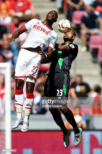 Anthony Modeste of Koeln and Dionatan Teixeira of Stoke City go up for a header during the Colonia Cup 2015 match between 1 FC Koeln and Stoke City...