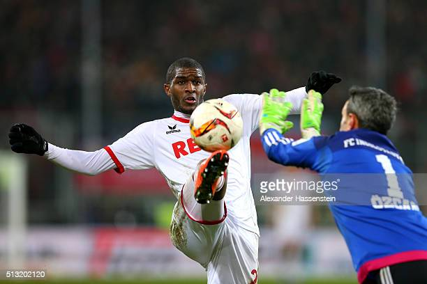 Anthony Modeste of Koeln battles for the ball with Ramazan Oezcan keeper of Ingolstadt during the Bundesliga match between FC Ingolstadt and 1 FC...