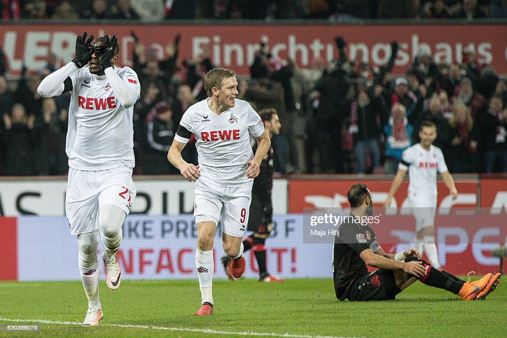 Anthony Modeste (L) of Koeln celebrates after scoring a goal to make it 1-0 during the Bundesliga match between 1. FC Koeln and Bayer 04 Leverkusen at RheinEnergieStadion on December 21, 2016 in Cologne, Germany.
